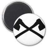 axe axe crossed icon 2 inch round magnet