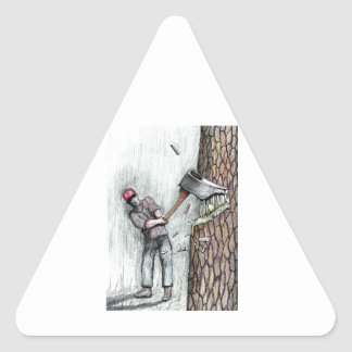Axe Man no stihl chainsaw Triangle Sticker