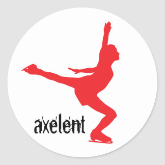 Axelent Ice Skater Classic Round Sticker