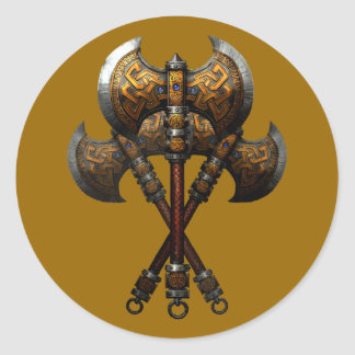Axes of controversy axes battle axes classic round sticker