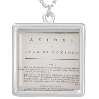 Axioms, or Laws of Motion, from Volume I Silver Plated Necklace
