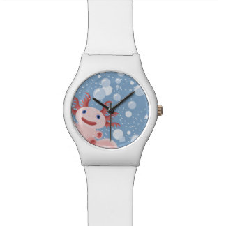 Axolotl and the Bubbles Bold Vector Design Watch