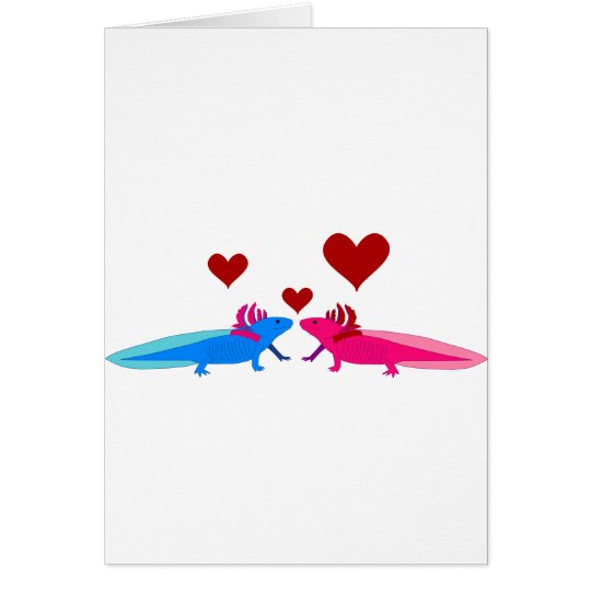 Axolotl in Love Card