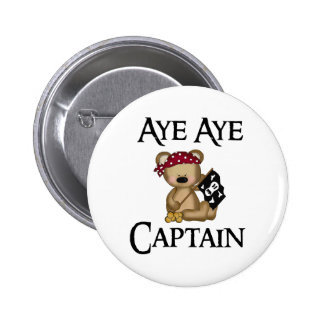 Aye Aye Captain Teddy Bear Pirate Pin Button