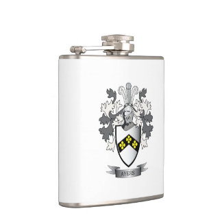 Ayers Family Crest Coat of Arms Hip Flask