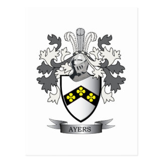 Ayers Family Crest Coat of Arms Postcard