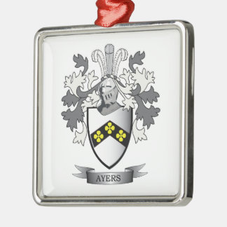Ayers Family Crest Coat of Arms Silver-Colored Square Ornament