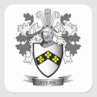Ayers Family Crest Coat of Arms Square Sticker