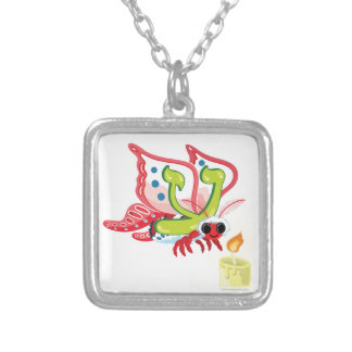 Ayin the Moth, Hebrew Aleph Bet (Alphabet) Silver Plated Necklace