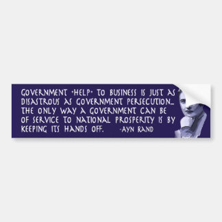 Ayn Rand Quote on Government Help to Business Bumper Sticker