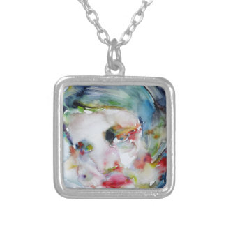 ayn rand - watercolor portrait silver plated necklace
