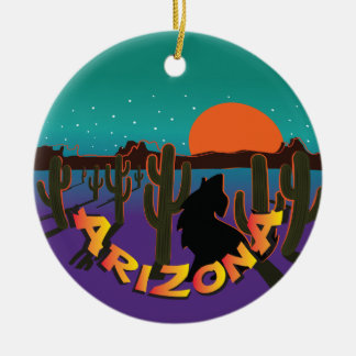 AZ  Arizona Christmas Howling Coyote Ceramic Ornament