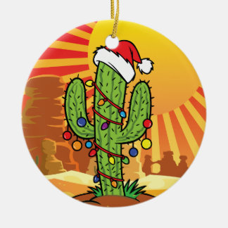 AZ  Arizona Christmas Saguaro Cactus Ceramic Ornament