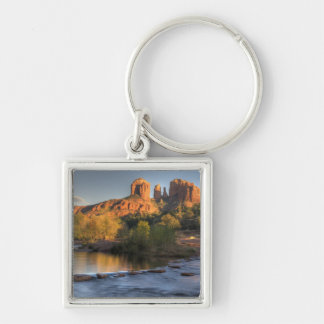 AZ, Arizona, Sedona, Crescent Moon Recreation 3 Silver-Colored Square Keychain