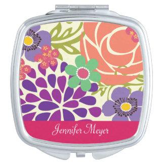 Azalea Floral Garden Personalized Compact Mirror
