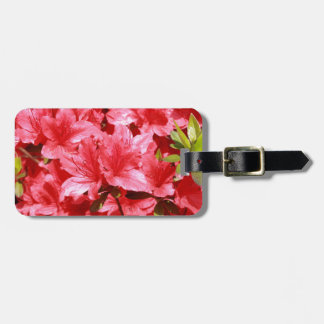 azalea red flowers luggage tag