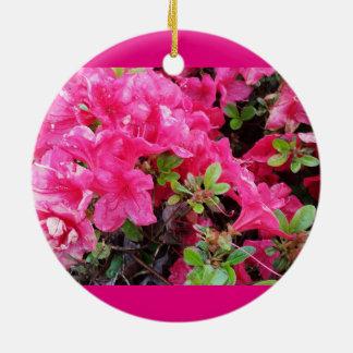 Azaleas Pink Rain Drops Round Ceramic Ornament