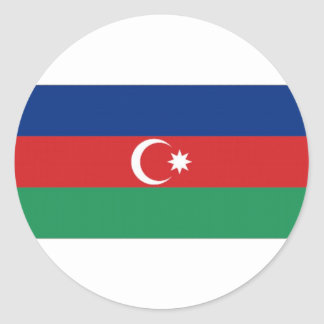 Azerbaijan National Flag Round Stickers