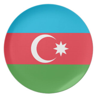 Azerbaijan National World Flag Plate