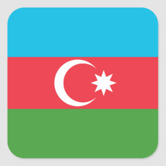 Azerbaijan National World Flag Square Sticker