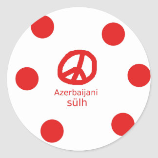 Azerbaijani Language And Peace Symbol Design Classic Round Sticker