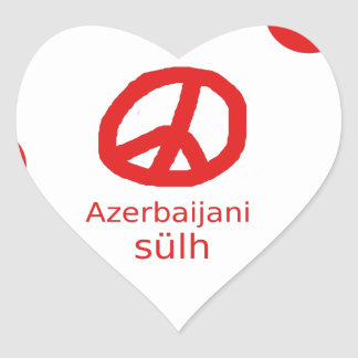 Azerbaijani Language And Peace Symbol Design Heart Sticker