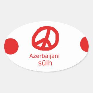 Azerbaijani Language And Peace Symbol Design Oval Sticker