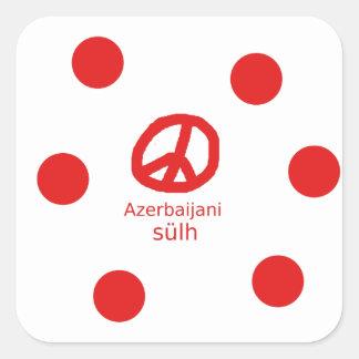 Azerbaijani Language And Peace Symbol Design Square Sticker