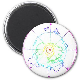 Azimuthal Equidistant Map Zetetic 2 Inch Round Magnet