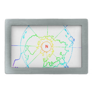 Azimuthal Equidistant Map Zetetic Rectangular Belt Buckles