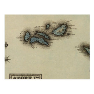 Azore Islands Atlas Map Post Cards