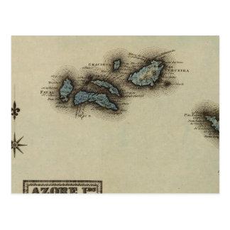 Azore Islands Atlas Map Postcard