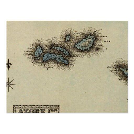 Azore Islands Atlas Map Post Cards