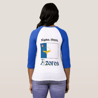 Azorean Flag and Azores with Name T-Shirt