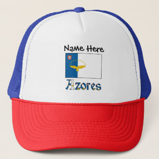 Azorean Flag and Azores with Name Trucker Hat