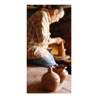 Azorean potter at work custom photo card
