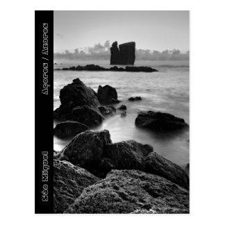Azores black and white seascape postcard