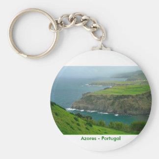 Azores landscape basic round button keychain