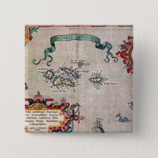 Azores Old Map - Vintage Sailing Exploration 2 Inch Square Button