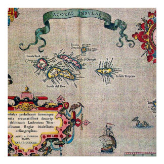 Azores Old Map - Vintage Sailing Exploration Poster