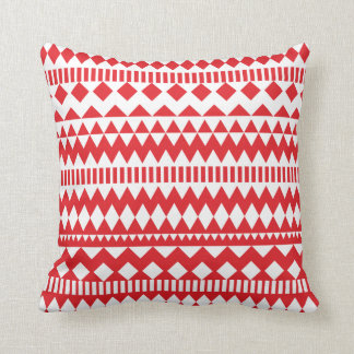 Aztec Andes Red White Tribal Geometric Pattern Throw Pillow
