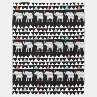 Aztec Andes Tribal Elephants Chevrons on Black Fleece Blanket