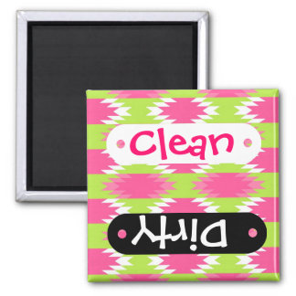 Aztec Andes Tribal Hot Pink Lime Green Pattern Square Magnet