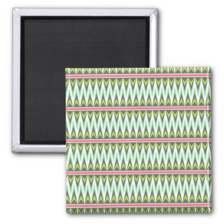 Aztec Andes Tribal Mountains Chevron Zig Zags Square Magnet