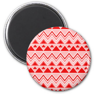 Aztec Andes Tribal Mountains Triangles Chevron Red 2 Inch Round Magnet