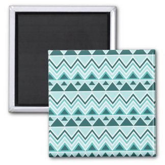 Aztec Andes Tribal Mountains Triangles Chevrons Square Magnet