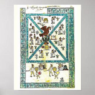 Aztec Art Codex Mendoza Cover copy,  Middle Ages Poster