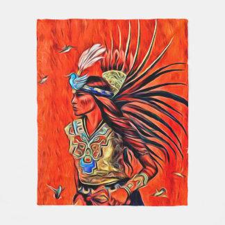 Aztec Bird Dancer Native American Fleece Blanket