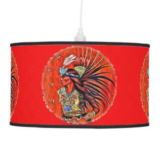 Aztec Bird Dancer Native American Hanging Lamp