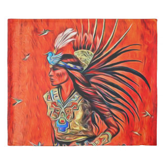Aztec Bird Dancer Native American King Size Duvet